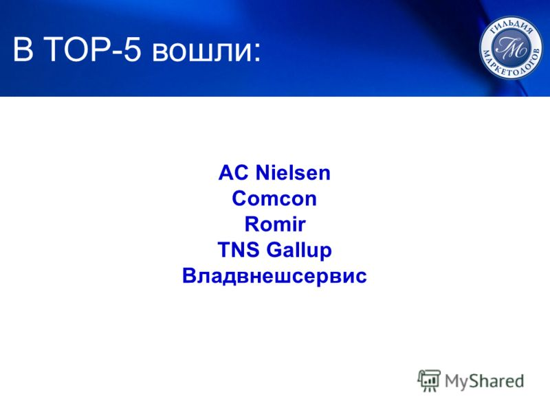 1. ЛУЧШИЙ МАРКЕТИНГ В TOP-5 вошли: AC Nielsen Comcon Romir TNS Gallup Владвнешсервис