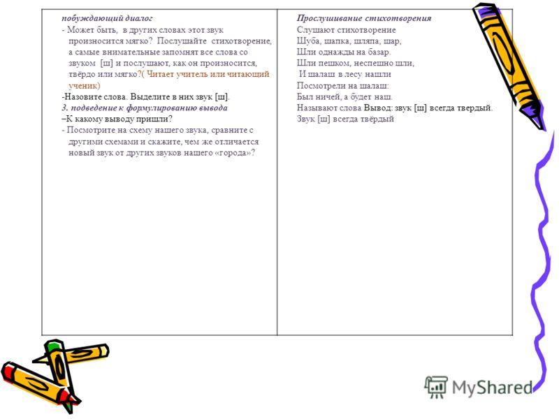 побуждающий диалог - Может быть, в других словах этот звук произносится мягко? Послушайте стихотворение, а самые внимательные запомнят все слова со звуком [ш] и послушают, как он произносится, твёрдо или мягко?( Читает учитель или читающий ученик) -Н