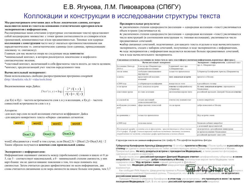 Е.В. Ягунова, Л.М. Пивоварова (СПбГУ) Коллокации и конструкции в исследовании структуры текста Мы рассматриваем сочетания двух и более лексических единиц, которые выделяются нами из текста на основании статистических критериев и/или экспериментов с и