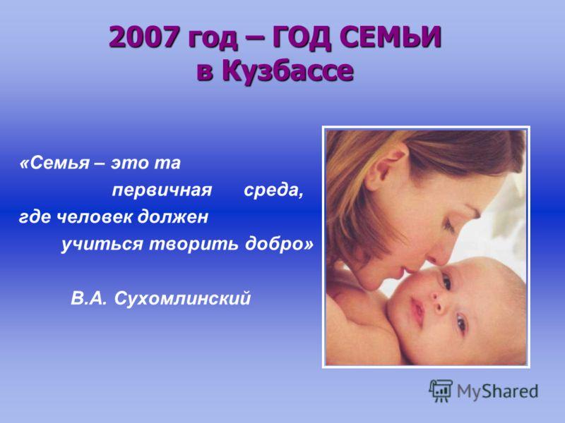 «Семья – это та первичная среда, где человек должен учиться творить добро» В.А. Сухомлинский 2007 год – ГОД СЕМЬИ в Кузбассе