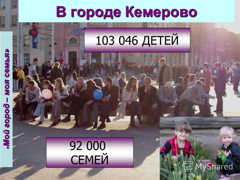 В городе Кемерово 103 046 ДЕТЕЙ 92 000 СЕМЕЙ « Мой город – моя семья»