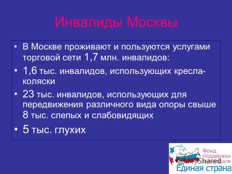 Инвалиды Москвы В Москве проживают и пользуются услугами торговой сети 1,7 млн. инвалидов: 1,6 тыс. инвалидов, использующих кресла- коляски 23 тыс. инвалидов, использующих для передвижения различного вида опоры свыше 8 тыс. слепых и слабовидящих 5 ты