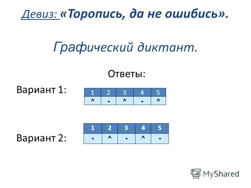 Девиз: «Торопись, да не ошибись». Граф ический диктант. Ответы: Вариант 1: Вариант 2: 12345 ^ - ^ - ^ 12345 - ^ - ^ -