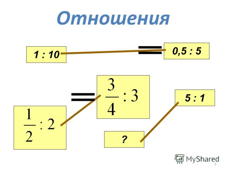 5 Отношения 1 : 10 ? 5 : 1 0,5 : 5