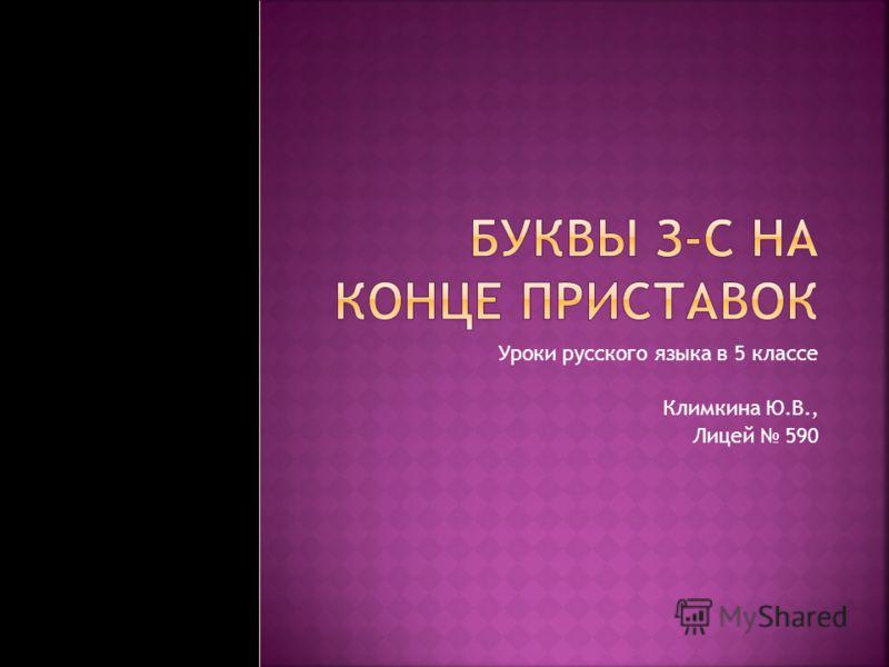 Уроки русского языка в 5 классе Климкина Ю.В., Лицей 590