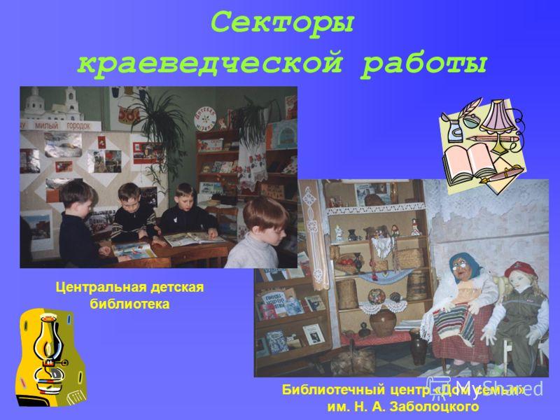 Секторы краеведческой работы Библиотечный центр «Дом семьи» им. Н. А. Заболоцкого Центральная детская библиотека