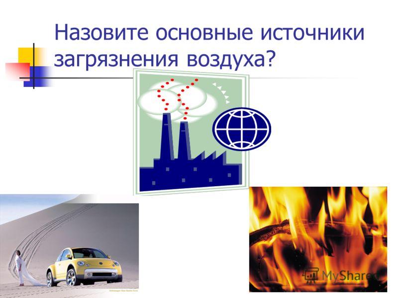 Назовите основные источники загрязнения воздуха?