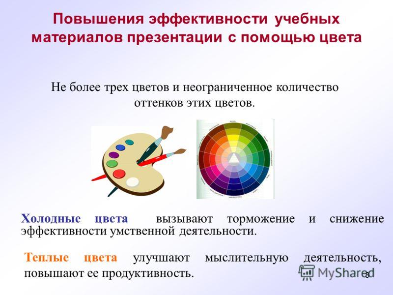 8 Повышения эффективности учебных материалов презентации с помощью цвета Холодные цвета вызывают торможение и снижение эффективности умственной деятельности. Теплые цвета улучшают мыслительную деятельность, повышают ее продуктивность. Не более трех ц