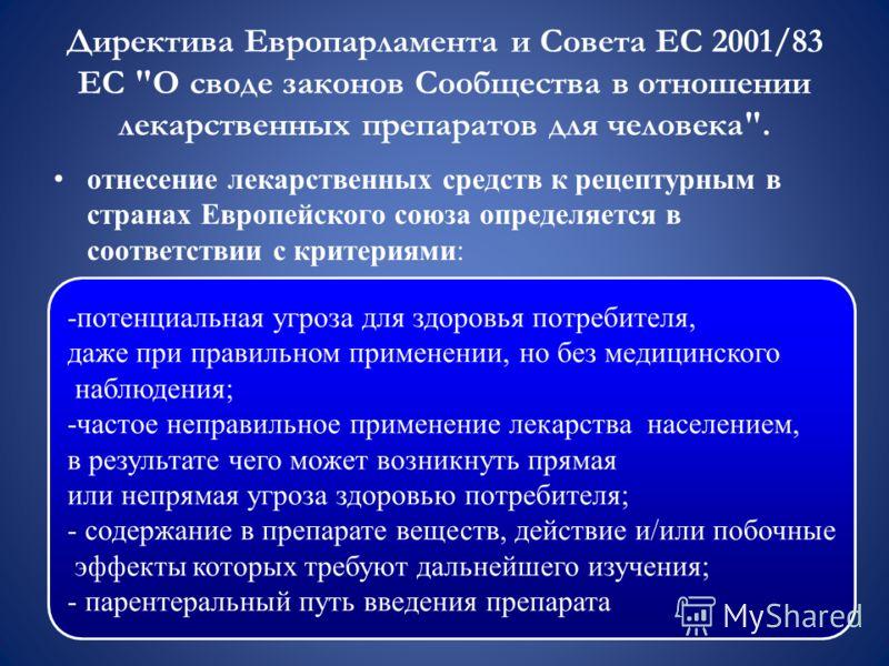 Директива Европарламента и Совета ЕС 2001/83 ЕС