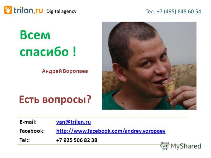 Есть вопросы? Всем спасибо ! E-mail:van@trilan.ru Facebook:http://www.facebook.com/andrey.voropaev Tel::+7 925 506 82 38 Андрей Воропаев