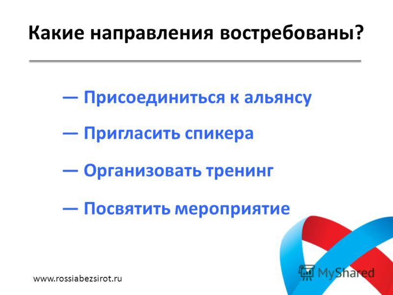 Какие направления востребованы? Присоединиться к альянсу Пригласить спикера Организовать тренинг Посвятить мероприятие www.rossiabezsirot.ru