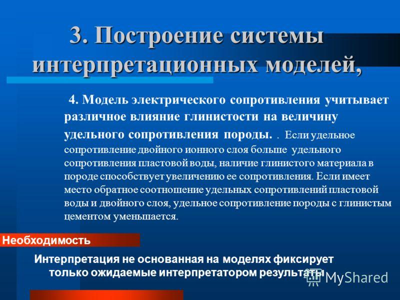 3. Построение системы интерпретационных моделей, 4. Модель электрического сопротивления учитывает различное влияние глинистости на величину удельного