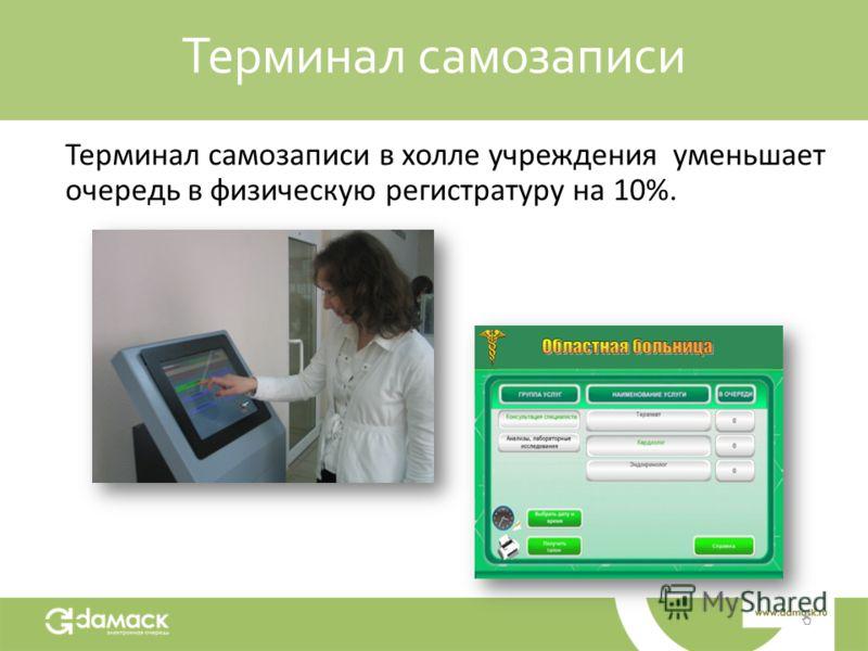 Терминал самозаписи Терминал самозаписи в холле учреждения уменьшает очередь в физическую регистратуру на 10%.