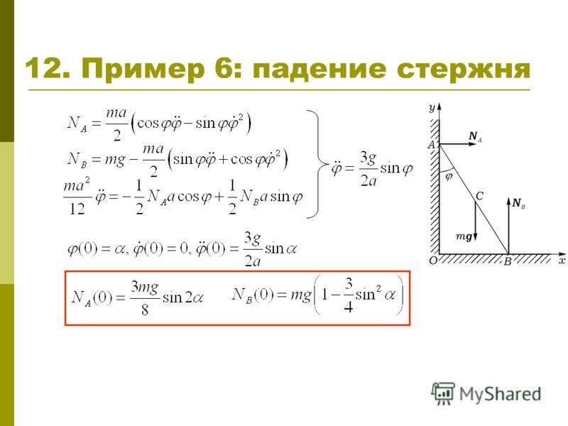 12. Пример 6: падение стержня