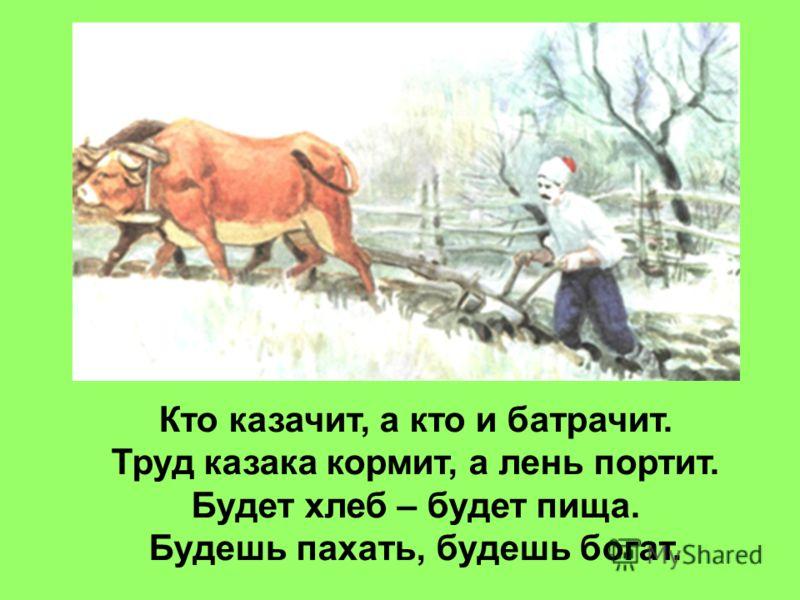 Кто казачит, а кто и батрачит. Труд казака кормит, а лень портит. Будет хлеб – будет пища. Будешь пахать, будешь богат.