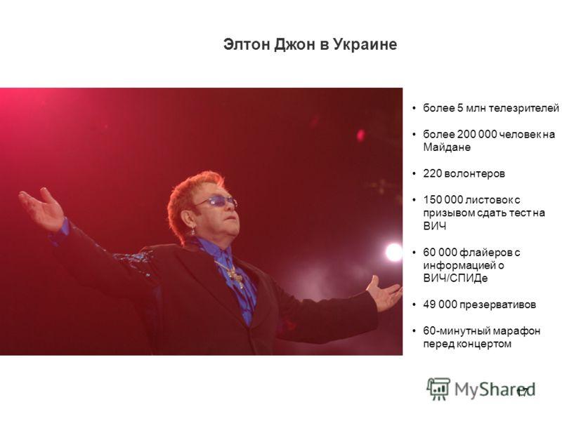 17 более 5 млн телезрителей более 200 000 человек на Майдане 220 волонтеров 150 000 листовок с призывом сдать тест на ВИЧ 60 000 флайеров с информацией о ВИЧ/СПИДе 49 000 презервативов 60-минутный марафон перед концертом Элтон Джон в Украине