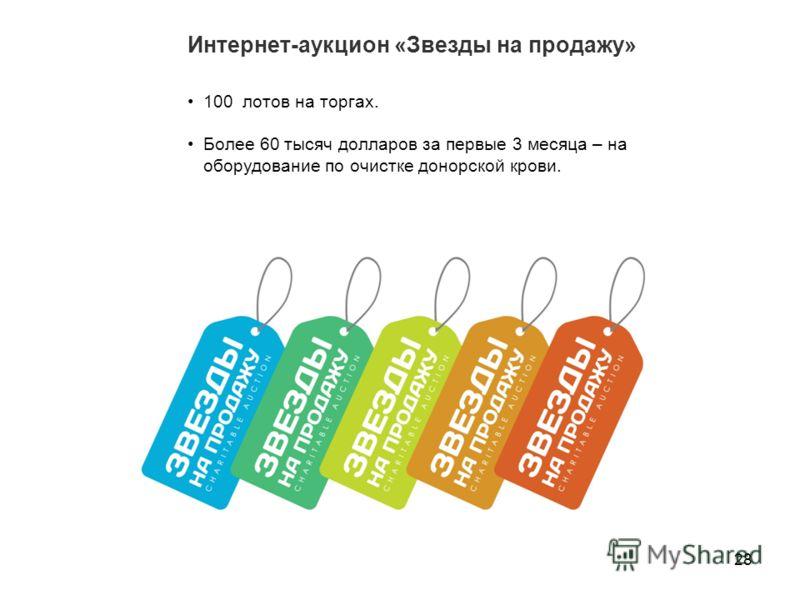 Интернет-аукцион «Звезды на продажу» 28 100 лотов на торгах. Более 60 тысяч долларов за первые 3 месяца – на оборудование по очистке донорской крови.