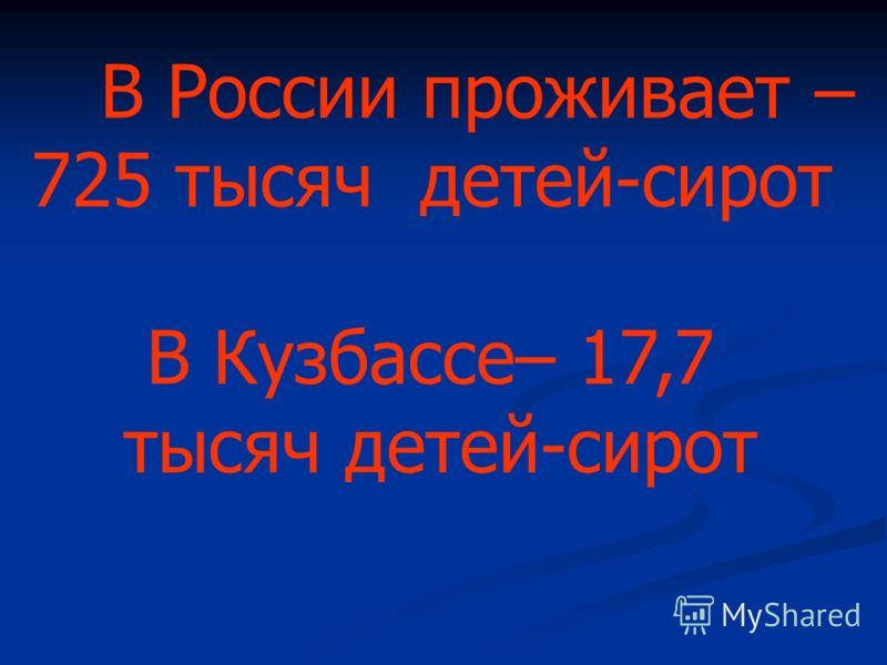 В России проживает – 725 тысяч детей-сирот В Кузбассе– 17,7 тысяч детей-сирот