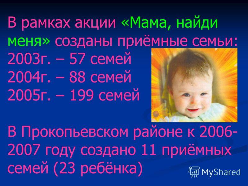В рамках акции «Мама, найди меня» созданы приёмные семьи: 2003г. – 57 семей 2004г. – 88 семей 2005г. – 199 семей В Прокопьевском районе к 2006- 2007 году создано 11 приёмных семей (23 ребёнка)