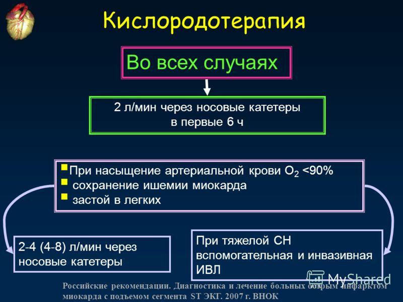 Кислородотерапия При насыщение артериальной крови O 2