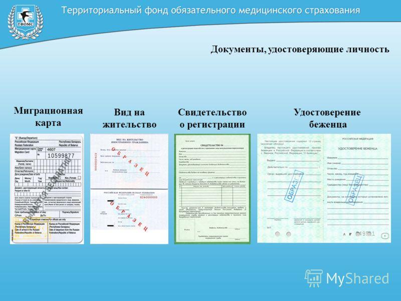 Документы, удостоверяющие личность Миграционная карта Вид на жительство Свидетельство о регистрации Удостоверение беженца