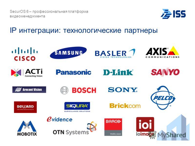 IP интеграции: технологические партнеры SecurOS 6 – профессиональная платформа видеоменеджмента