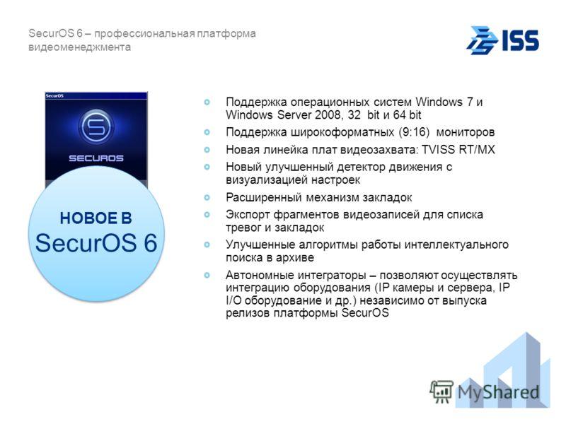 Поддержка операционных систем Windows 7 и Windows Server 2008, 32 bit и 64 bit Поддержка широкоформатных (9:16) мониторов Новая линейка плат видеозахвата: TVISS RT/MX Новый улучшенный детектор движения с визуализацией настроек Расширенный механизм за