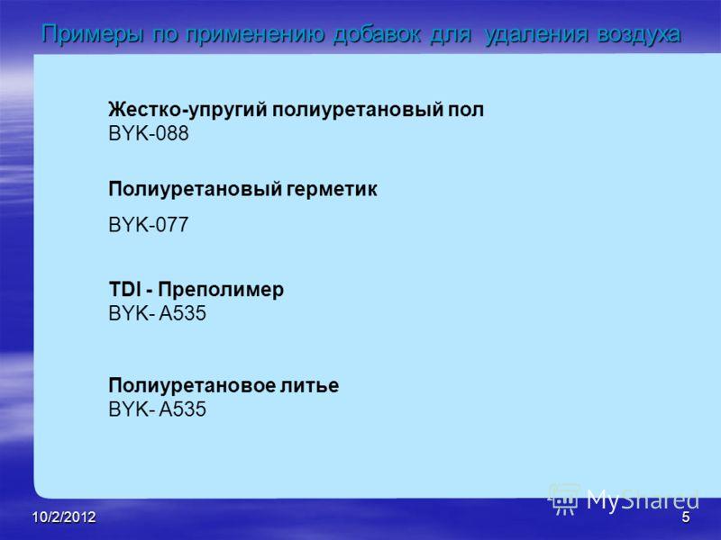 8/21/20125 Жестко-упругий полиуретановый пол BYK-088 Полиуретановый герметик BYK-077 TDI - Преполимер BYK- A535 Полиуретановое литье BYK- A535 Примеры по применению добавок для удаления воздуха