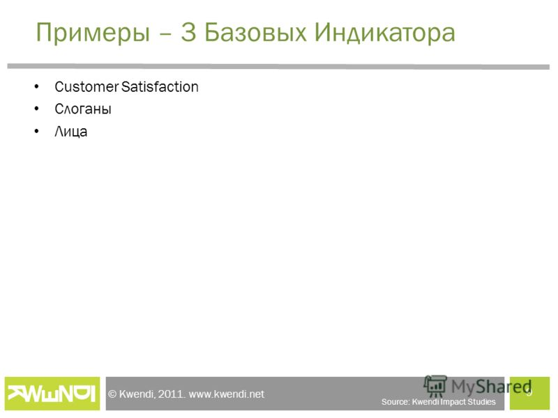 © Kwendi, 2011. www.kwendi.net Примеры – 3 Базовых Индикатора Customer Satisfaction Слоганы Лица 9 Source: Kwendi Impact Studies