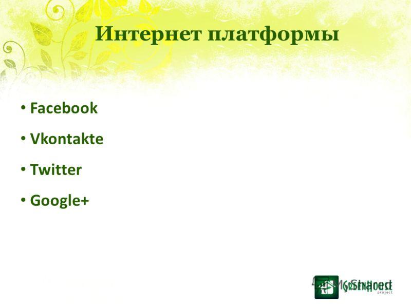 Facebook Vkontakte Twitter Google+