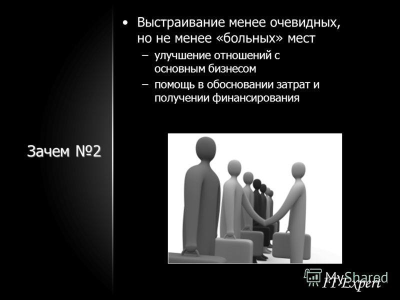 Зачем 2 Выстраивание менее очевидных, но не менее «больных» мест –улучшение отношений с основным бизнесом –помощь в обосновании затрат и получении финансирования