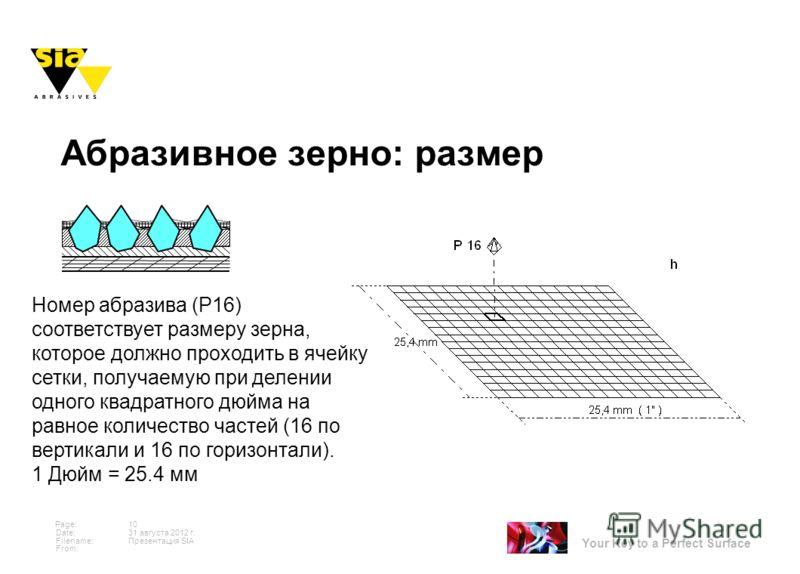 Your Key to a Perfect Surface Page: Date: Filename: From: 31 августа 2012 г. 10 Презентация SIA Номер абразива (Р16) соответствует размеру зерна, которое должно проходить в ячейку сетки, получаемую при делении одного квадратного дюйма на равное колич