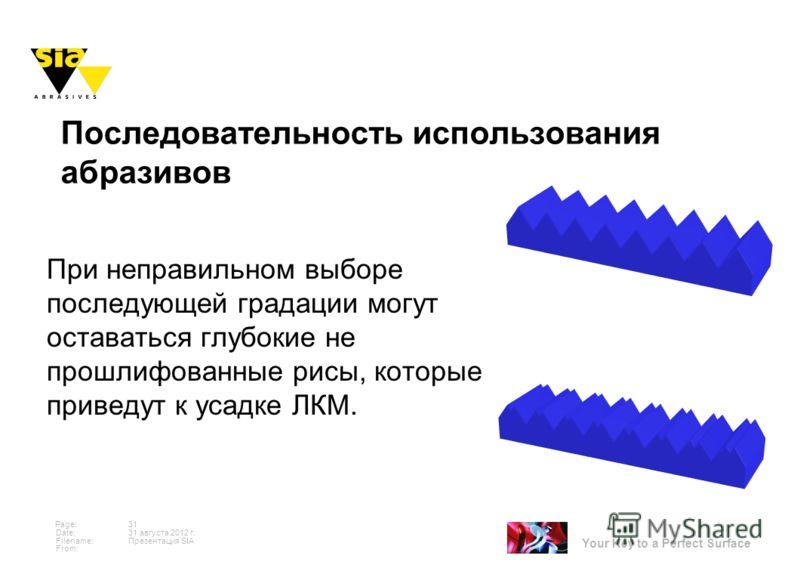 Your Key to a Perfect Surface Page: Date: Filename: From: 31 августа 2012 г. 31 Презентация SIA При неправильном выборе последующей градации могут оставаться глубокие не прошлифованные рисы, которые приведут к усадке ЛКМ. Последовательность использов