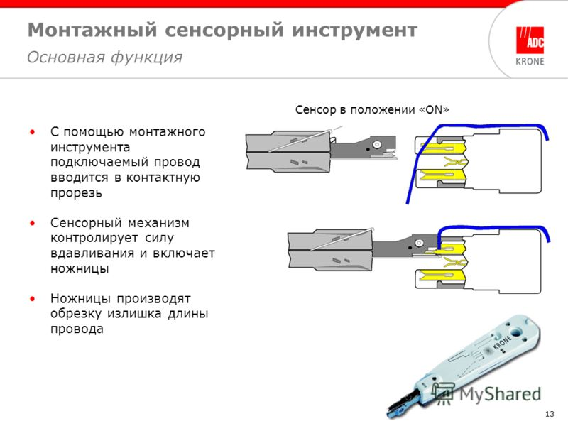 13 Монтажный сенсорный инструмент Основная функция Сенсор в положении «ON» С помощью монтажного инструмента подключаемый провод вводится в контактную прорезь Сенсорный механизм контролирует силу вдавливания и включает ножницы Ножницы производят обрез