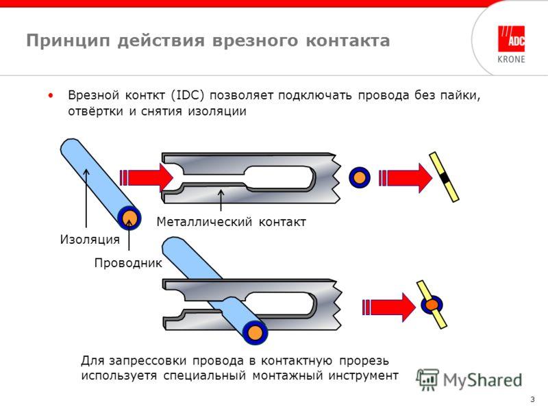 3 Принцип действия врезного контакта Изоляция Проводник Металлический контакт Для запрессовки провода в контактную прорезь используетя специальный монтажный инструмент Врезной конткт (IDC) позволяет подключать провода без пайки, отвёртки и снятия изо