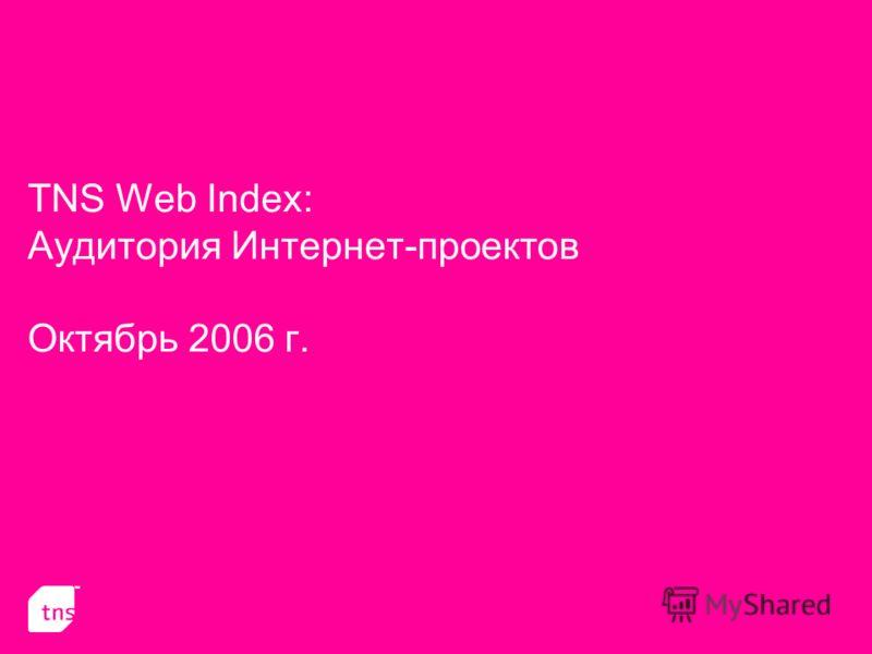 TNS Web Index: Аудитория Интернет-проектов Октябрь 2006 г.