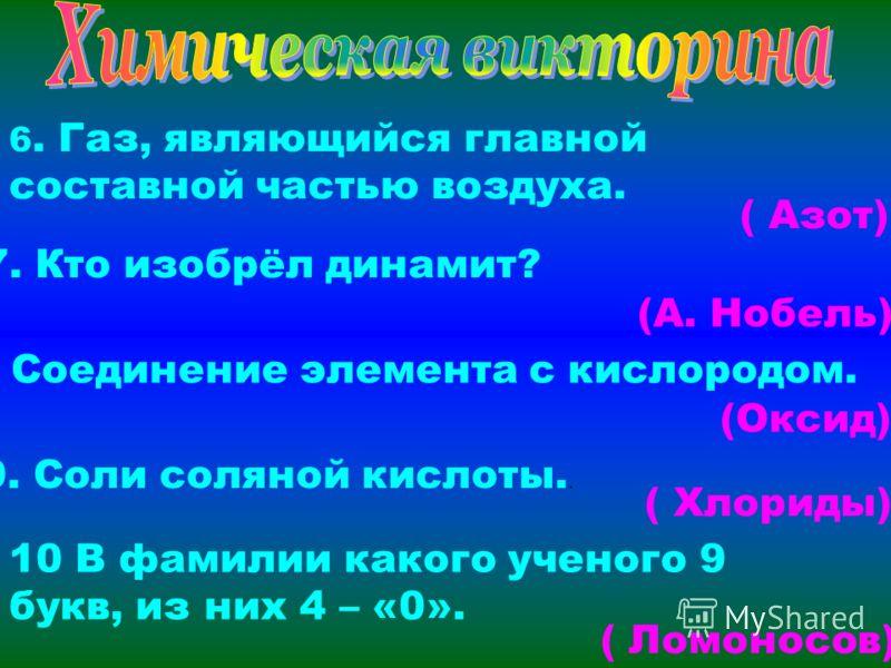 6. Газ, являющийся главной составной частью воздуха. ( Азот) 7. Кто изобрёл динамит? (А. Нобель) 8. Соединение элемента с кислородом. (Оксид) 9. Соли соляной кислоты.. ( Хлориды) 10 В фамилии какого ученого 9 букв, из них 4 – «0». ( Ломоносов)