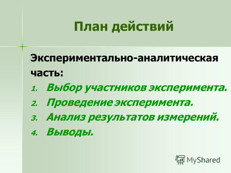 План действий Экспериментально-аналитическая часть: 1. 1. Выбор участников эксперимента. 2. 2. Проведение эксперимента. 3. 3. Анализ результатов измерений. 4. 4. Выводы.