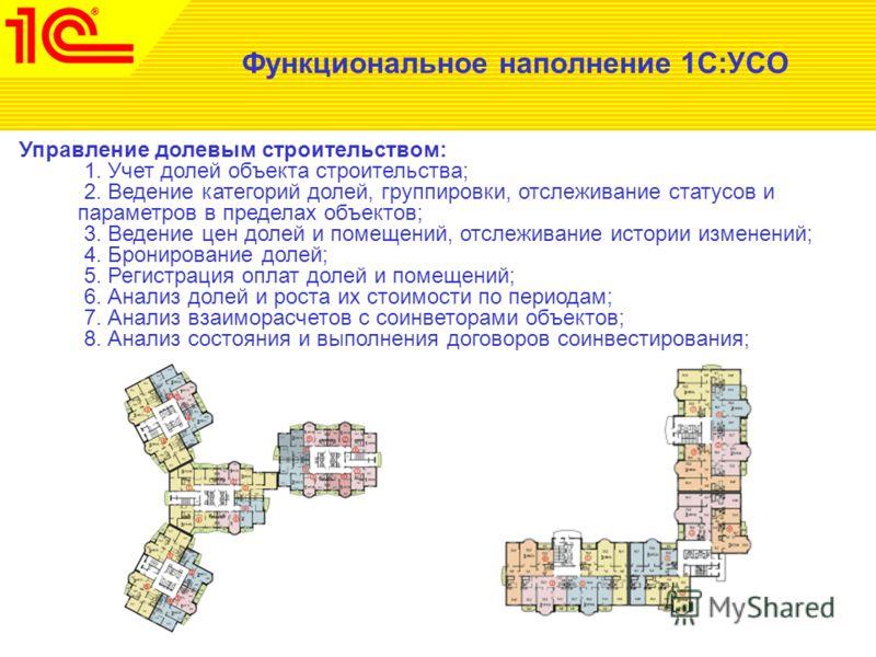 Функциональное наполнение 1С:УСО Управление долевым строительством: 1. Учет долей объекта строительства; 2. Ведение категорий долей, группировки, отслеживание статусов и параметров в пределах объектов; 3. Ведение цен долей и помещений, отслеживание и