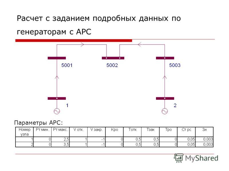 Расчет с заданием подробных данных по генераторам c АРС Параметры АРС:
