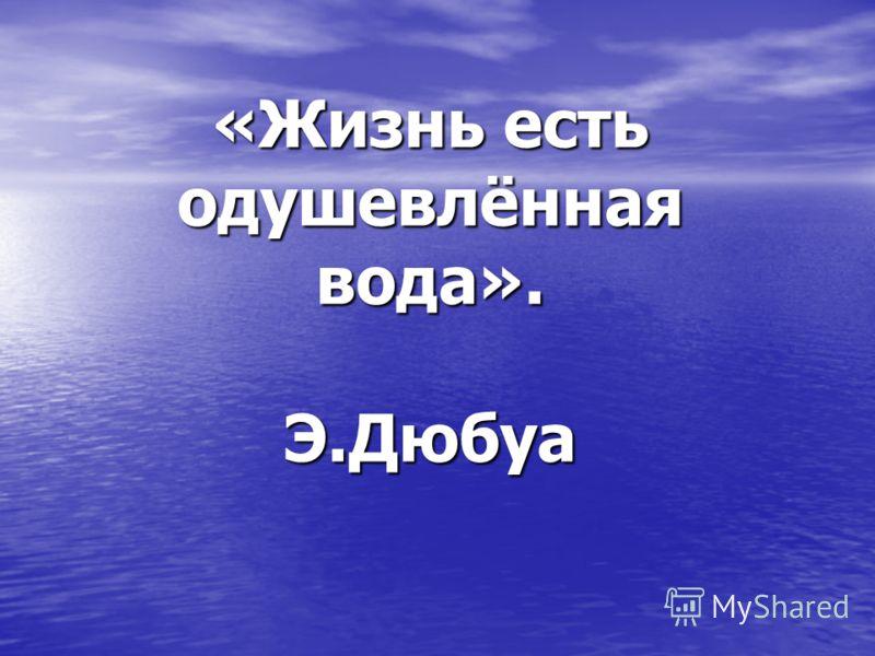 «Жизнь есть одушевлённая вода». Э.Дюбуа
