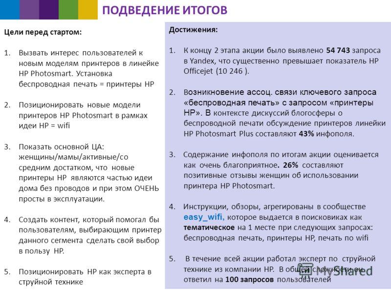 Достижения: 1.К концу 2 этапа акции было выявлено 54 743 запроса в Yandex, что существенно превышает показатель HP Officejet (10 246 ). 2.В озникновение ассоц. связи ключевого запроса «беспроводная печать» с запросом «принтеры HP». В контексте дискус