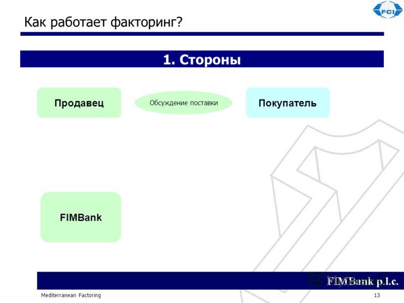 Mediterranean Factoring13 Как работает факторинг? 1. Стороны ПродавецПокупатель FIMBank Обсуждение поставки