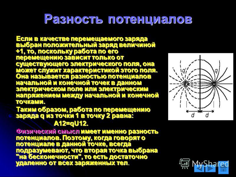 Разность потенциалов Если в качестве перемещаемого заряда выбран положительный заряд величиной +1, то, поскольку работа по его перемещению зависит только от существующего электрического поля, она может служит характеристикой этого поля. Она называетс