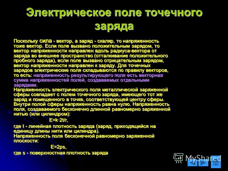 Электрическое поле точечного заряда Поскольку сила - вектор, а заряд - скаляр, то напряженность тоже вектор. Если поле вызвано положительным зарядом, то вектор напряженности направлен вдоль радиуса-вектора от заряда во внешнее пространство (отталкива
