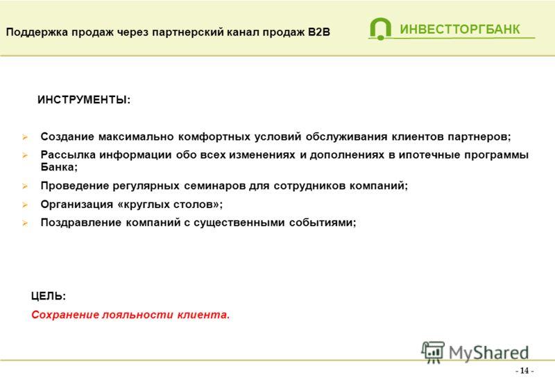 ИНВЕСТТОРГБАНК - 13 - Мониторинг рынка недвижимости, определение основных игроков рынка. Формирование базы партнеров (наработанные связи, специализированные справочники, пресса, СМИ) Назначение встреч, проведение переговоров и презентаций Обмен инфор