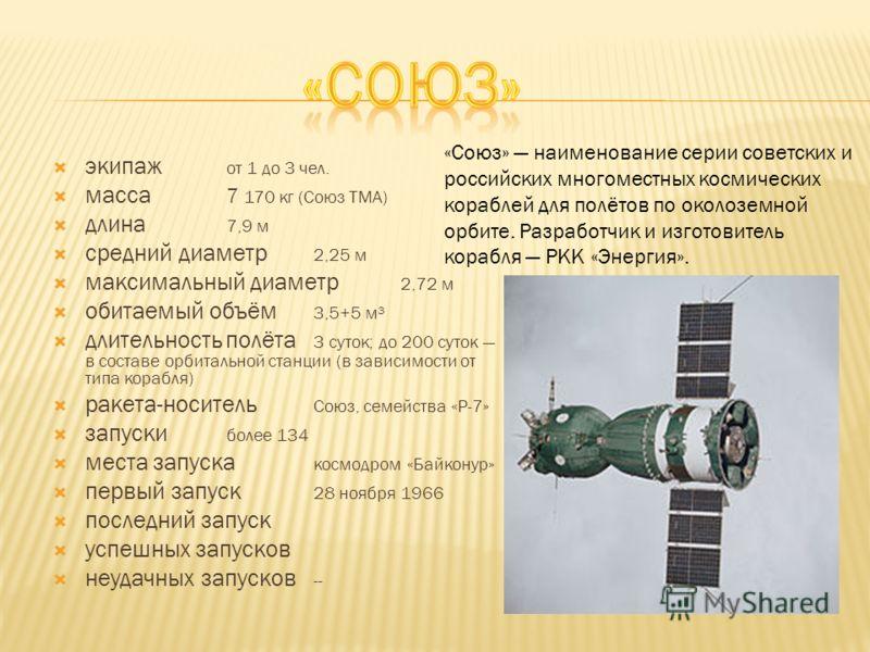 экипаж от 1 до 3 чел. масса 7 170 кг (Союз ТМА) длина 7,9 м средний диаметр 2,25 м максимальный диаметр 2,72 м обитаемый объём 3,5+5 м³ длительность полёта 3 суток; до 200 суток в составе орбитальной станции (в зависимости от типа корабля) ракета-нос