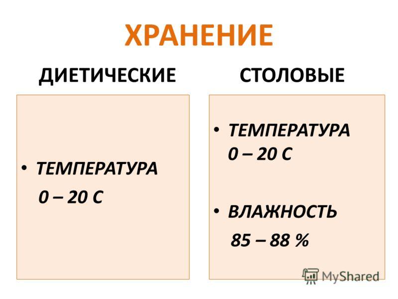 ХРАНЕНИЕ ДИЕТИЧЕСКИЕ ТЕМПЕРАТУРА 0 – 20 С СТОЛОВЫЕ ТЕМПЕРАТУРА 0 – 20 С ВЛАЖНОСТЬ 85 – 88 %