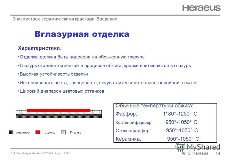 Dirk Oelschläger, Heraeus CCD-AT, August 2003 14 Характеристики: Отделка должна быть нанесена на обожженную глазурь Глазурь становится мягкой в процессе обжига, краски впитываются в глазурь Высокая устойчивость отделки Интенсивность цвета, глянцевост