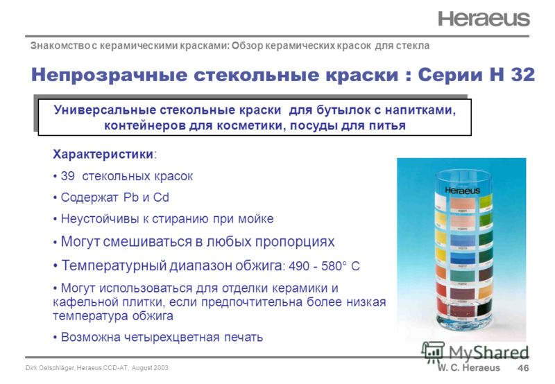 Dirk Oelschläger, Heraeus CCD-AT, August 2003 46 Непрозрачные стекольные краски : Серии H 32 Знакомство с керамическими красками: Обзор керамических красок для стекла Характеристики: 39 стекольных красок Содержат Pb и Cd Неустойчивы к стиранию при мо